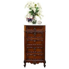 French Antique Nightstand or Double Pot Cupboard, Marble Top #31257