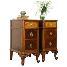 Pair of Antique Carved Walnut & Burl Nightstands or End Tables, Holland #31259