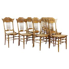 Victorian Set of 8 Antique Oak Pressback Carved Dining Chairs  #31271