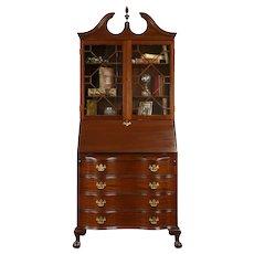 Georgian 1930's Vintage Carved Mahogany Secretary Desk & Bookcase #31273