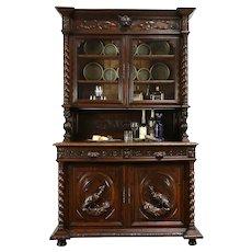 Black Forest Antique Oak China Cabinet or Bookcase, Carved Lions & Birds #31274