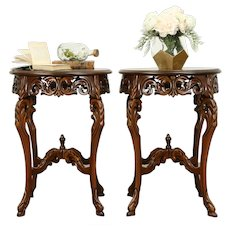 Pair of French Style Round Vintage Carved Walnut Lamp Tables #31275