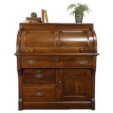 Oak & Burl Victorian Antique 1890 Cylinder Rolltop Secretary Desk #31277