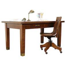 Arts & Crafts Mission Oak Antique Craftsman Library or Dining Table, Desk #31281