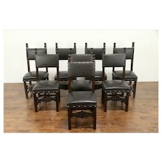 Set of 8 Italian Antique 1890 Carved Walnut Dining Chairs, New Leather #31289