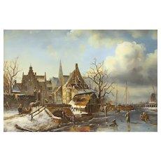 Dutch Winter Scene Vintage Original Oil Painting, Gold Frame, L. Roth #31292