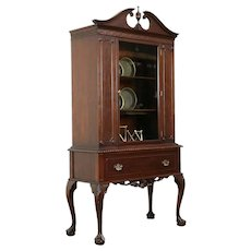 Georgian Design Vintage Carved Mahogany China Display Cabinet #31294