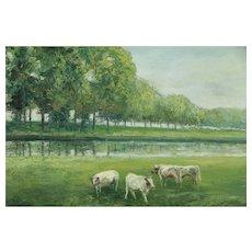 Pond with Cows Original Danish Vintage Oil Painting, Geo. Vuylsteke #31300
