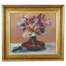 Floral Still Life Vintage Danish Oil Painting, Geo. Vuylsteke, 1944  #31302