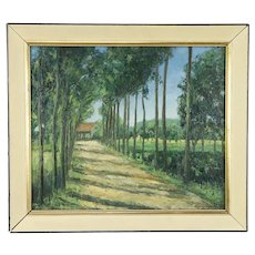 Cottage Road, Vintage Danish Original Oil Painting Signed Vuylsteke 1949  #31303