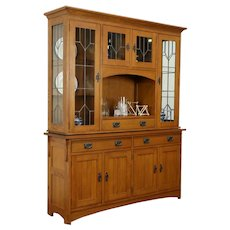 Craftsman Style Sideboard & China Cabinet, Leaded Glass, Penns Creek #31311