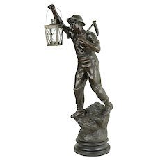 Coal Miner with Pickax, Antique 1900's French Statue, Signed J. Becox #31315