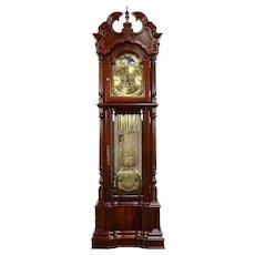 Traditional Tall Case Cherry & Mahogany Grandfather Clock, Ridgeway #31316