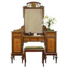 Satinwood & Mahogany Marquetry Vanity or Dressing Table, Mirror & Bench #31325