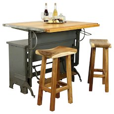 Industrial Salvage Drafting Desk, Kitchen Island, Wine Table, Hamilton #31328