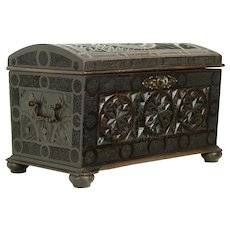 Hand Carved French Antique Small Treasure Chest or Trunk with Lock #31330