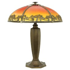 Art Deco Antique Lamp, Reverse Painted Red Glass Shade #31336