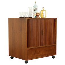 Midcentury Modern Vintage Cherry Entertainment Bar Cabinet, Roll Doors #31342