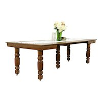 """Victorian Antique Square Oak Dining Table, 5 Leaves, Extends 99"""" #31344"""