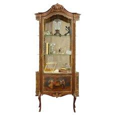 Vernis Martin 1900 Antique French Vitrine Curio Cabinet, Painted Wissi #31345