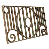 Wrought Iron Fragment Antique Architectural Salvage Grill Panel #31347