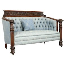 Mahogany Antique Loveseat or Sofa, Carved Dolphin & Angel Heads, Karpen #31365