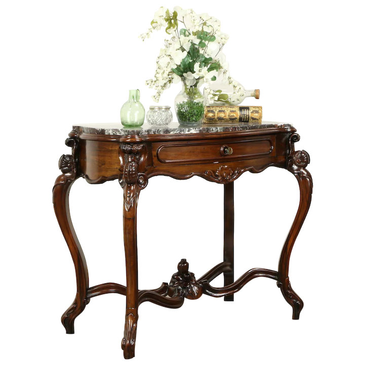 Victorian Antique Rosewood Parlor Lamp Or Hall Console Table Red Marble 31370