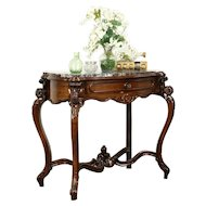 Victorian Antique Rosewood Parlor Lamp or Hall Console Table, Red Marble #31370