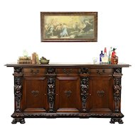 Italian Renaissance Antique Sideboard Server or Hall Console, Figures #31373