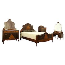 English Tudor Antique 4 Pc Bedroom Set, Queen Size Bed #31385