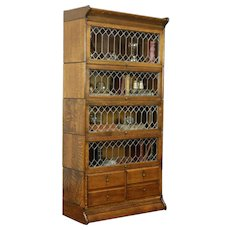 Oak Antique 5 Stack Lawyer Bookcase, Leaded Glass, 4 Drawers #31386