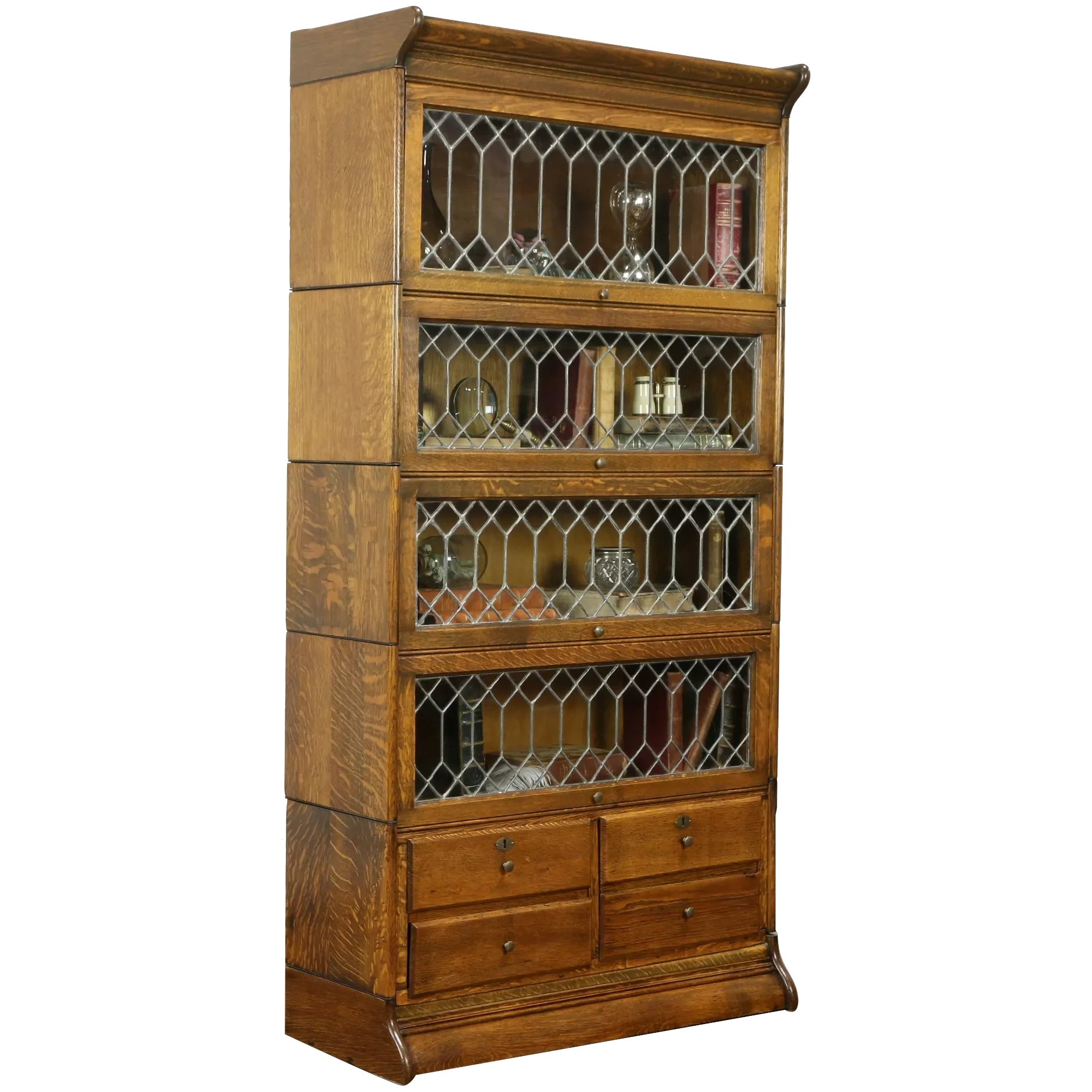 Oak Antique 5 Stack Lawyer Bookcase Leaded Glass 4 Drawers 31386