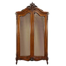 French Antique Rosewood Armoire Wardrobe, Beveled Mirrors, Shelves #31390