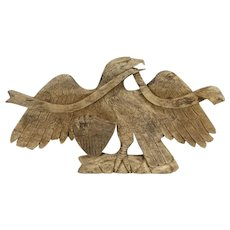 Driftwood Teak Hand Carved Eagle Sculpture, Architectural Salvage #31402