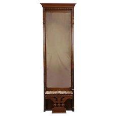 Victorian Eastlake Antique Walnut & Burl Pier or Hall Mirror Marble Shelf #31414