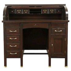 Mahogany Antique Roll Top Desk, Secret Compartments, Globe Wernicke #31417