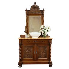 French Antique Carved Walnut Chest,Sideboard, Sink Vanity Marble & Mirror #31423