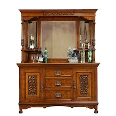 English Antique Burl Sideboard, Server or Back Bar, Beveled Mirrors  #31424