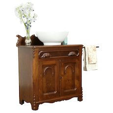 Victorian Antique Walnut Chest, Towel Bar, Commode, Nightstand, End Table #31426