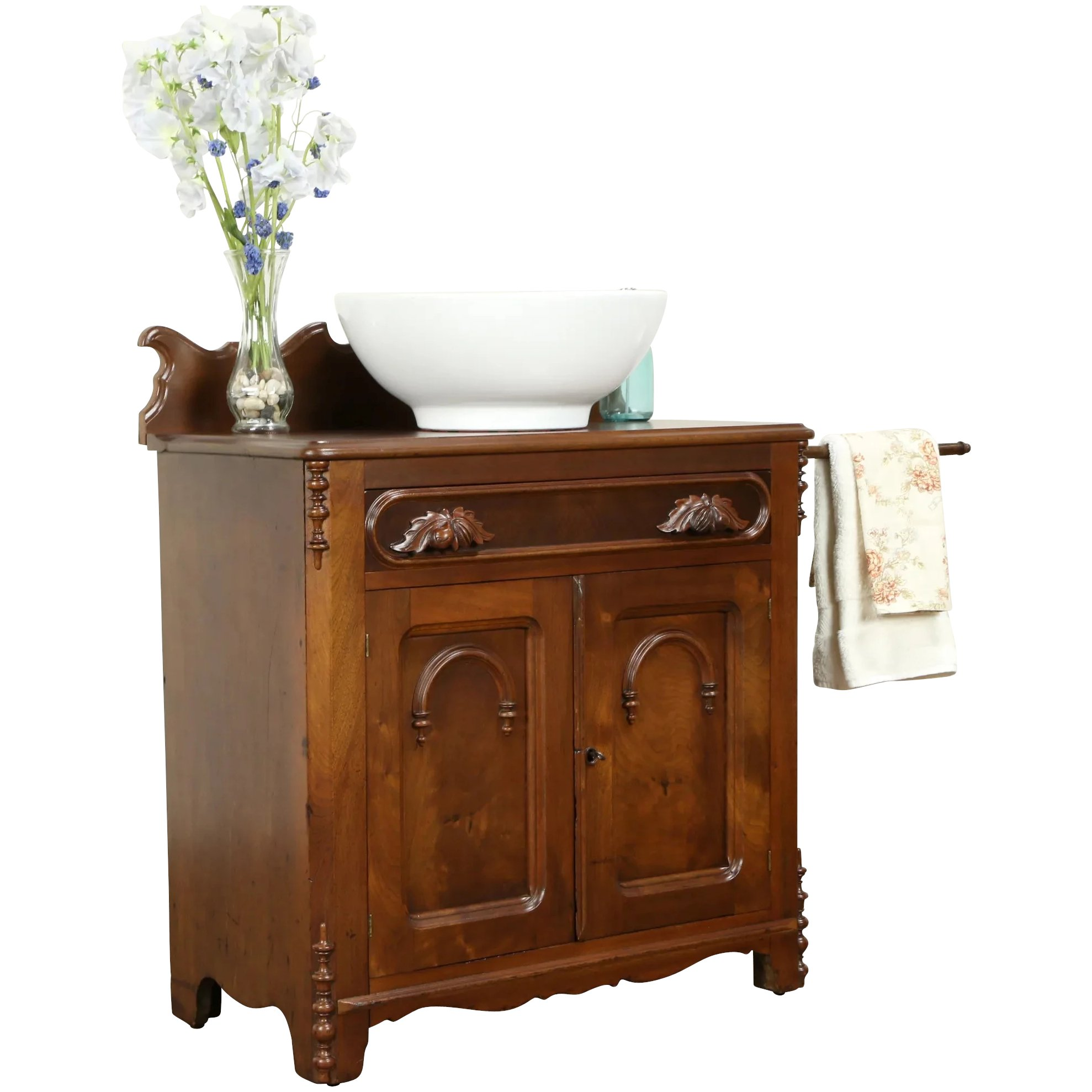 Victorian Antique Walnut Chest Towel Bar Commode Nightstand End Table 31426