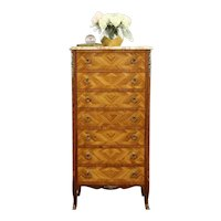 French Semainier Vintage Lingerie Chest Rosewood & Tulipwood, Marble Top #31427