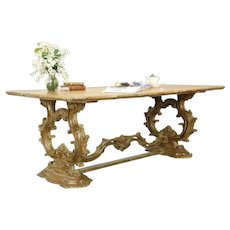 Baroque Carved Italian Vintage Dining or Library Table, Dominick Argento #31443