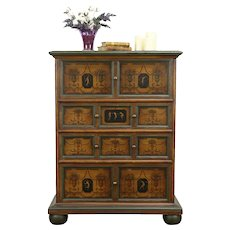 Hand Painted Antique Hall Chest, Classical Design Motifs #31456
