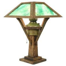Arts & Crafts Mission Oak Antique Craftsman Lamp, Stained Glass, Miller #31457