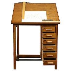 Architect Artist Desk, Vintage Kitchen Island, Wine Table, Hamilton  #31461