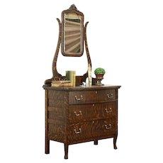Oak Grained Antique Chest or Dresser, Beveled Mirror, Upham Marshfield WI #31464