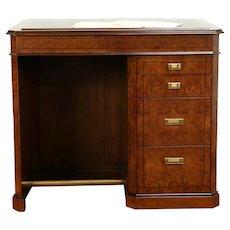 Architect or Professor Standing or Stool Desk, Vintage Burl & Leather #31471