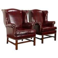 Traditional Vintage Leather Pair of Wing Chairs, McKinley by Hickory  #31486