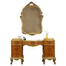 French Style Vintage Satinwood Vanity or Dressing Table & Mirror #31488