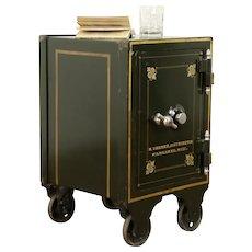 Victorian Iron Antique Combination Safe, Hand Painting, Dreher Milwaukee #31490